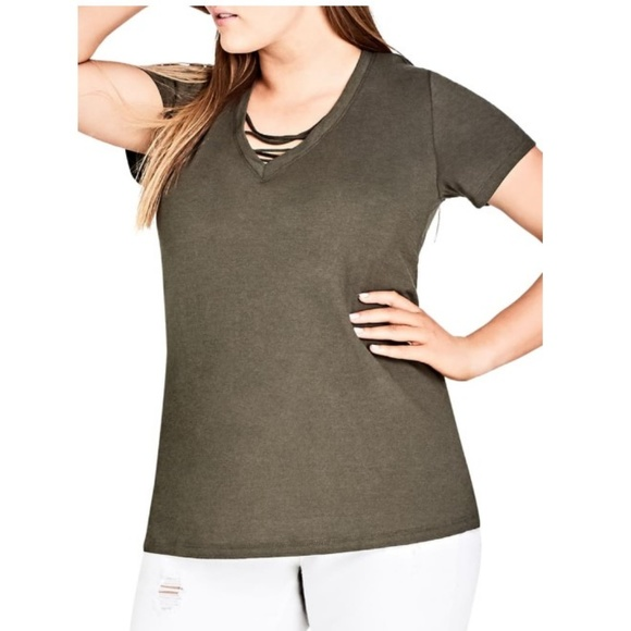 City Chic Tops - City Chic Trendy Plus Size Cotton Cross-Neck Top